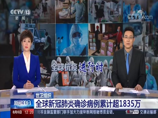 [新闻30分]世卫组织 全球新冠肺炎确诊病例累计超1835万央视网2020年08月06日 12:31