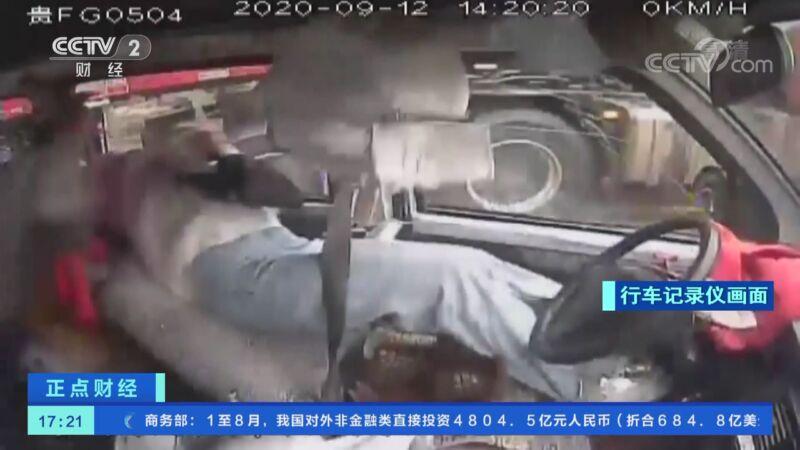 [正点财经]贵州威宁:弯道盲区不减速 大货车撞上客运车