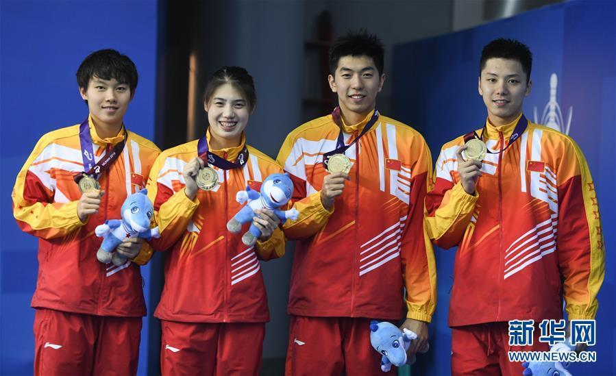 [图]军运会男女4×100米混合泳接力:中国队夺冠