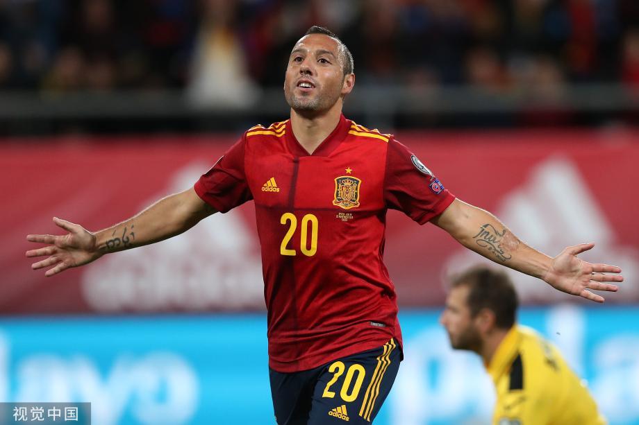 [图]欧预赛-莫雷诺2传1射卡索拉破门 西班牙7-0胜