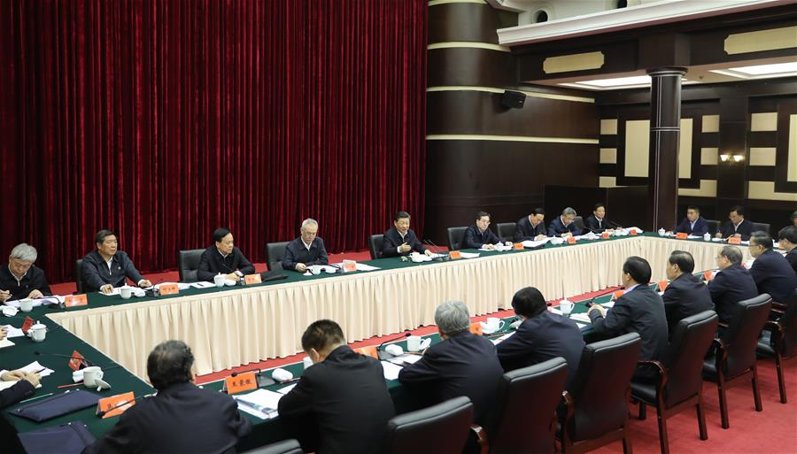Chinese President Xi Jinping, also general secretary of the Communist Party of China Central Committee and chairman of the Central Military Commission, presides over a symposium about solving prominent problems including meeting the basic needs of food and clothing and guaranteeing compulsory education, basic medical care and housing in southwest China