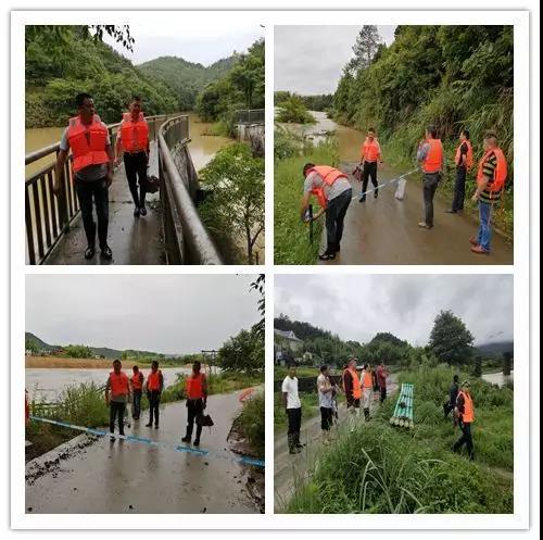 濉溪镇干部在斗埕村曲滩小组平面桥上拉警戒线,劝群众远离河道。