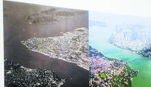 影像展上,紫日提供的两张跨度67年的鹭江两岸航拍对比照吸引许多人的目光。