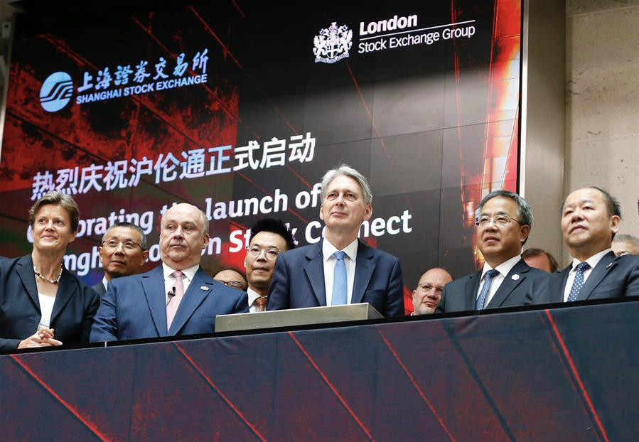 Chinese Vice Premier Hu Chunhua (2nd R, front) and British Chancellor of the Exchequer Philip Hammond (3rd R, front) attend the launch ceremony of Shanghai-London Stock Connect in London, Britain, June 17, 2019. The Shanghai-London Stock Connect program opened for trading Monday, a new step for China
