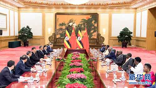 6月25日,国家主席习近平在北京人民大会堂同来华进行工作访问的乌干达总统穆塞韦尼举行会谈。 新华社记者 高洁 摄