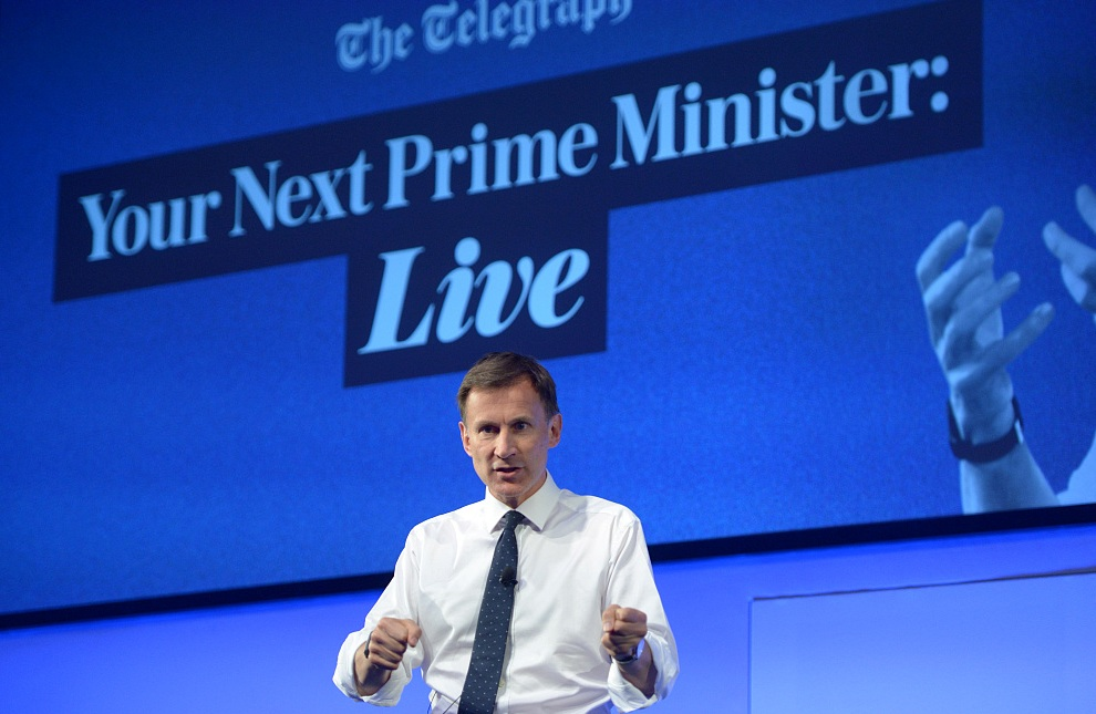 Conservative leadership candidate Jeremy Hunt during a Telegraph Q&A event in London, July 8, 2019. /VCG Photo