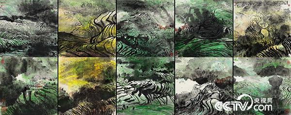 大地交响-龙胜梯田 江明贤 136×350cm 国画 2010