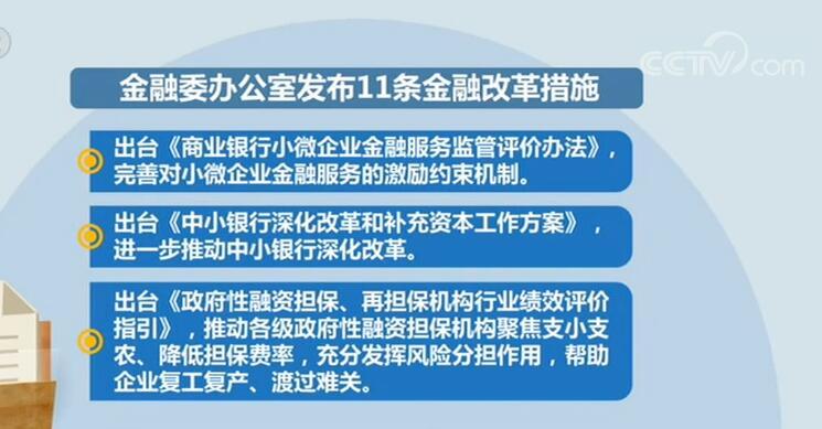 近期将推出11条金融改革措施 帮助企业渡过难关