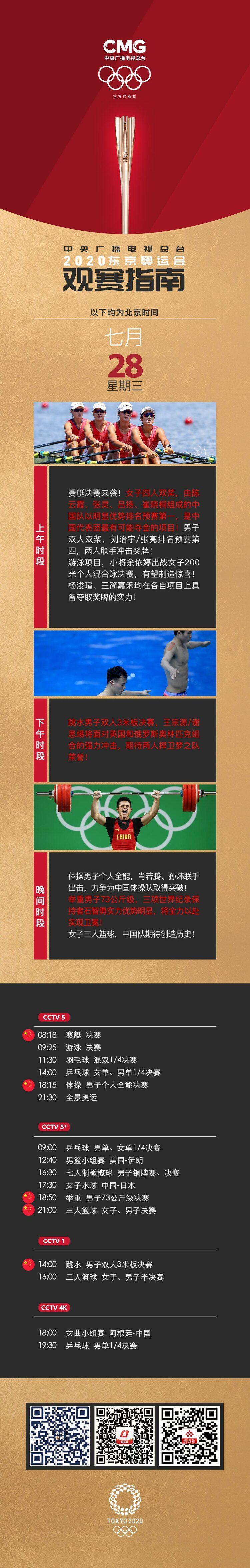 7月28日观赛指南:女子三人篮球冲击奖牌 王宗源谢思埸联手争金