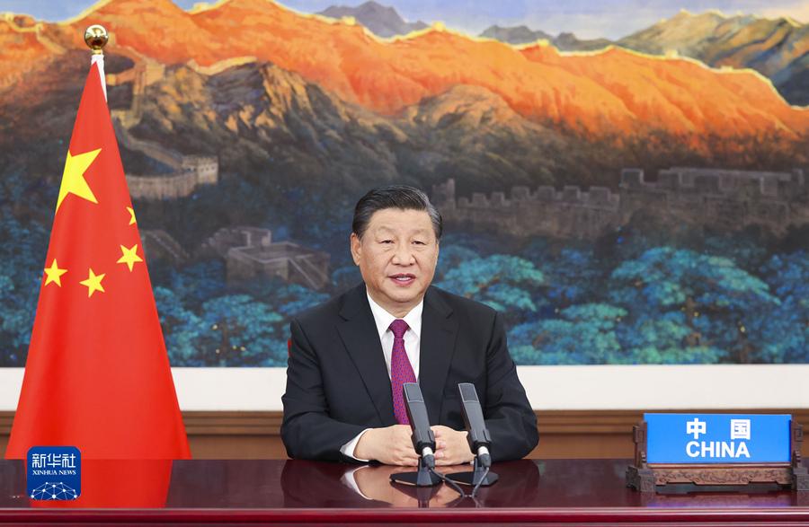 9月3日,国家主席习近平应邀以视频方式出席第六届东方经济论坛全会开幕式并致辞。新华社记者 黄敬文 摄