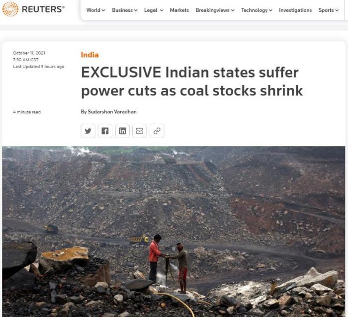 随着煤炭库存的减少,印度多邦遭遇停电。图片来源:路透社报道截图。